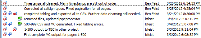 In this screenshot you can see the number of large milestones that were hit in the main effort to get clean CSV output from FineReader